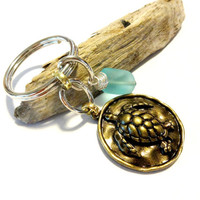 Brass Sea Turtle Keychain, Cool Car Accessory, Aqua Blue Sea Glass Key Ring, Beach Bum Gift, Beach House Key Holder, Sea Creature Key Fob