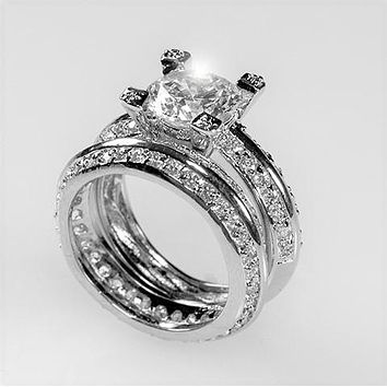 Isabel 2.5(ct) Round Pave Accents Engagement and Wedding Ring Set | 7.5ct