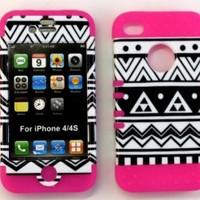 Bumper Case for Apple iphone 4 4G 4S Black & White Aztec design hard plastic snap on over Pink Silicone Gel