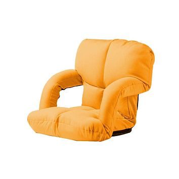 Besthls Folding Lazy Sofa Floor Chair Adjustable Floor Gaming Lounger Bed Chaise Couch with Armrests Orange