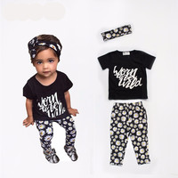 """Worn to be wild"" Girls 3 Piece Set. Pants Shirt and Headband"