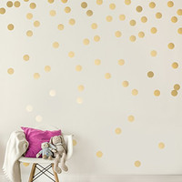 Gold Wall Decal Dots (200 Decals) | Easy Peel & Stick + Safe on Walls Paint | Removable Metallic Vinyl Polka Dot Decor | Round Circle Art Glitter Sayings Sticker Large Paper Sheet Set for Nursery Room