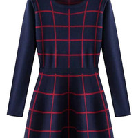 Long Sleeve Checked Sweater Dress