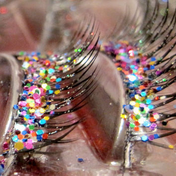 SALE Natural Party Mix Glitter Faux Eyelashes by BrightandBold
