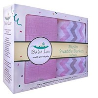 Baby Muslin Swaddle Blankets for Girls 100% Cotton Burp Swaddler Receiving Blankets (2 Pack)