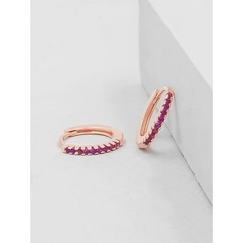 Mini Ear Huggies - Rose Gold + Pink
