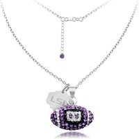 LSU Spirit Football Necklace in Sterling Silver - Fashion - Diamond Necklaces & Pendants - Jewelry & Gifts