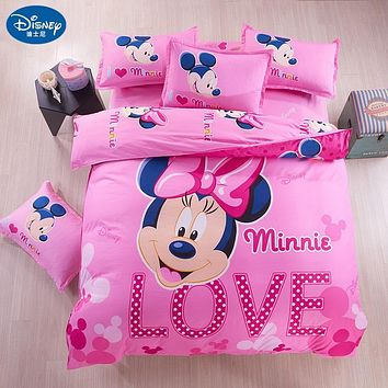 Minnie mouse Bedding Set Cover pillowcase quilt mickey mouse cartoon Children bedclothes  bed