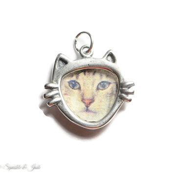 Sterling Silver Cat Face Picture Frame Charm