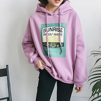 2 colors 2017 autumn and winter loose print long-sleeve pullover sweatshirts womens hoodies womens (F464)