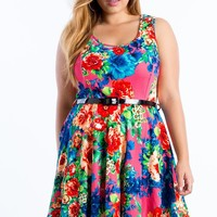 Floral Punch Dress With Belt