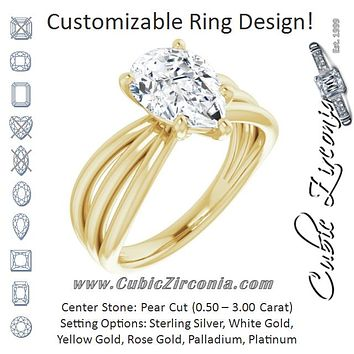 Cubic Zirconia Engagement Ring- The Maha (Customizable Pear Cut Solitaire Design with Wide, Ribboned Split-band)