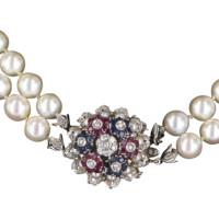 En Tremblant Vintage Double Strand Cultured Pearl Necklace Diamond Sapphire