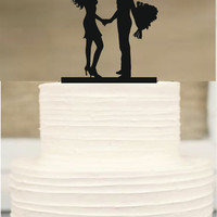 wediing silhouette cake topper, Bride and Groom Wedding Cake topper, Mr and Mrs Cake topper, initial Cake Topper,Unique Wedding Cake Topper