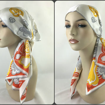 Vera Neumann Long Oblong Spring or Summer White Neck Scarf Stylized Yellow & Grey Flowers on Orange and White Hippie Boho Chic Headscarf