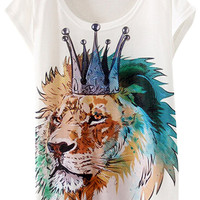 Crowned Lion-Print Short Sleeve Graphic Tee