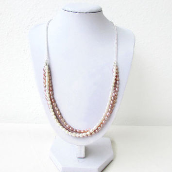 Freshwater pearl necklace, peach, bronze and white pearl bridal necklace, pearl jewelry, gift for her, wedding jewelry, handmade in the UK