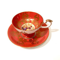Aynsley Tea Cup And Saucer, Fruits Berries And Leaves, Gold Rust Purple Pink, Pedestal Cup, English Bone China,  D. Jones, Vintage 1930's