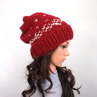 Knit Chunky Fair Isle Slouchy Hat /CRANBERRY/, Chunky Ski Hat, Chunky Slouchy Beanie, Unisex Slouchy Hat, Woolen Hat