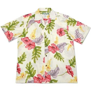 honeymoon cream hawaiian rayon shirt