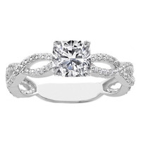 Engagement Ring - Square Cushion Diamond Vintage Infinity Swirl Engagement Ring 0.38 tcw. In 14K White Gold - ES337SQCU