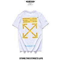 OFF-WHITE 2019 early spring new yellow warning strip printing arrow couple short-sleeved T-shirt