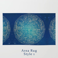 Zodiac Constellation Area Floor Rug Dark Blue Throw Woven Rectangle Modern Home Decor 2 Styles to Choose From