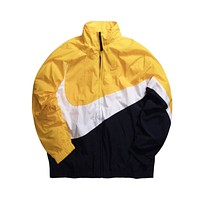 Nike Men's NSW Swoosh Full Zip Up Windbreaker Jacket Yellow Navy