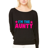 new i'm the aunty aunt with cute little stars WOMEN'S FLOWY LONG SLEEVE OFF SHOULDER TEE