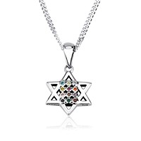 Hoshen Star of David  charm with mix of stones in 925 Sterling Silver