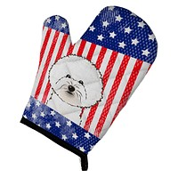 American Flag and Bichon Frise Oven Mitt BB2147OVMT