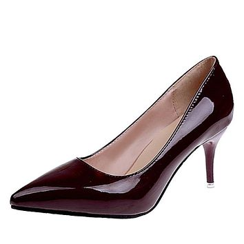 Women's Pointed Toe Patent Leather Dress Pumps