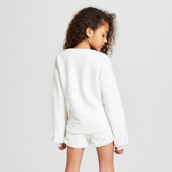 Girls' Long Sleeve Allover Sequin Pull-Over - art class™ White