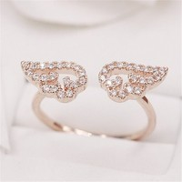 MP Micropave Setting of AAA Quality White Clear CZ Stones Angel Wings Pave Slim Arm Ring Rose Golden Color 18K Gold Plated Gift for Her Promise Ring Engagement Ring Anniversary Ring Chic Ring Party Ring Must Have Ring US 6 ADP 0704