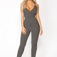 Fade Away Striped Jumpsuit - Black/White