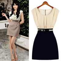 Two Tone Pleated Mini Dress With Belt