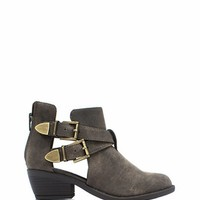 So Strapping Buckled Cut-Out Boots - GoJane.com