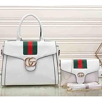 Perfect Gucci Women Leather Shopping Tote Handbag Messenger Bag Satchel Crossbody Set Two-Piece