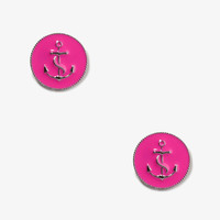 Lacquered Anchor Circle Studs