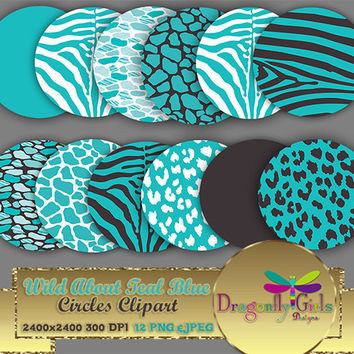 """80% OFF Sale WILD About Light Teal 8"""" Clip Art, commercial use, digital scrapbook papers, vector graphics, printable, Instant Download"""