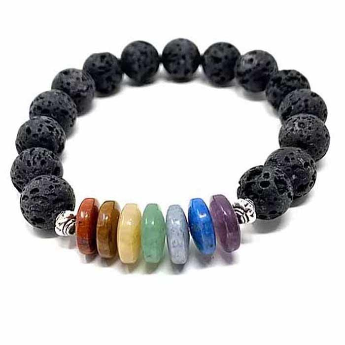 Image of Essential Oil Chakra Lava Stone Bracelet with Rondells 10mm with 2 Essential Oils
