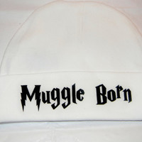 Muggle Born Baby Hat. Harry Potter Inspired Beanie Hat. White. One Size Fits Most.