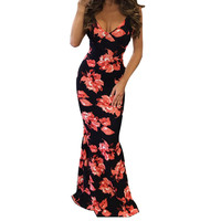 feitong 2017 Summer Women's Print Sexy Deep V Neck Bohemian Beach Dress Casual Long Maxi Women Long Slim Party Dresses Clothing