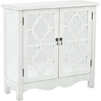 Bayview Storage Cabinet with Mirror Accents, Antique White Finish