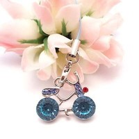 Blue Bicycle Cell Phone Charm Strap Rhine Stone