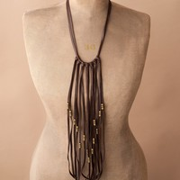 Leather Fringe Bib Necklace