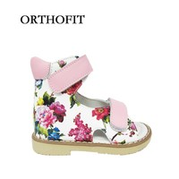 Lovely Baby Pink Flowered Print Orthopedic Shoes Kids Girls High Quality Sandals With Hard Sole