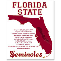 Florida State Seminoles Map Art Print College Football Fight Song 8x10