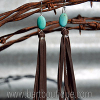 Turquoise Fringe Earrings {Brown}