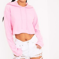 Charissa Baby Pink Inside Out Cropped Hoodie